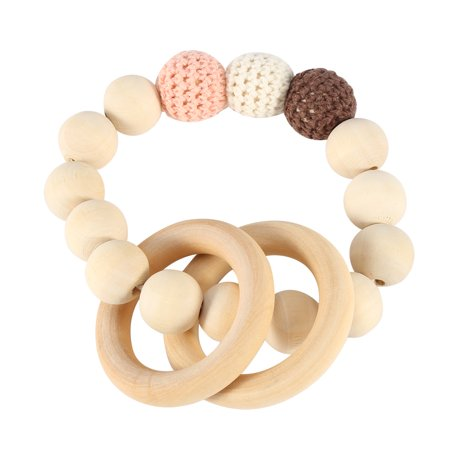 Wooden Toy Rings - EECOO Handmade Natural Wooden Baby Teether Bracelet Crochet Beads Teething Ring Infant Toy Gift Baby Teether Baby Teething Toy