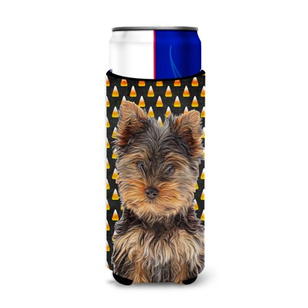 Candy Corn Halloween Yorkie Puppy / Yorkshire Terrier Ultra Beverage Insulators for slim cans KJ1216MUK