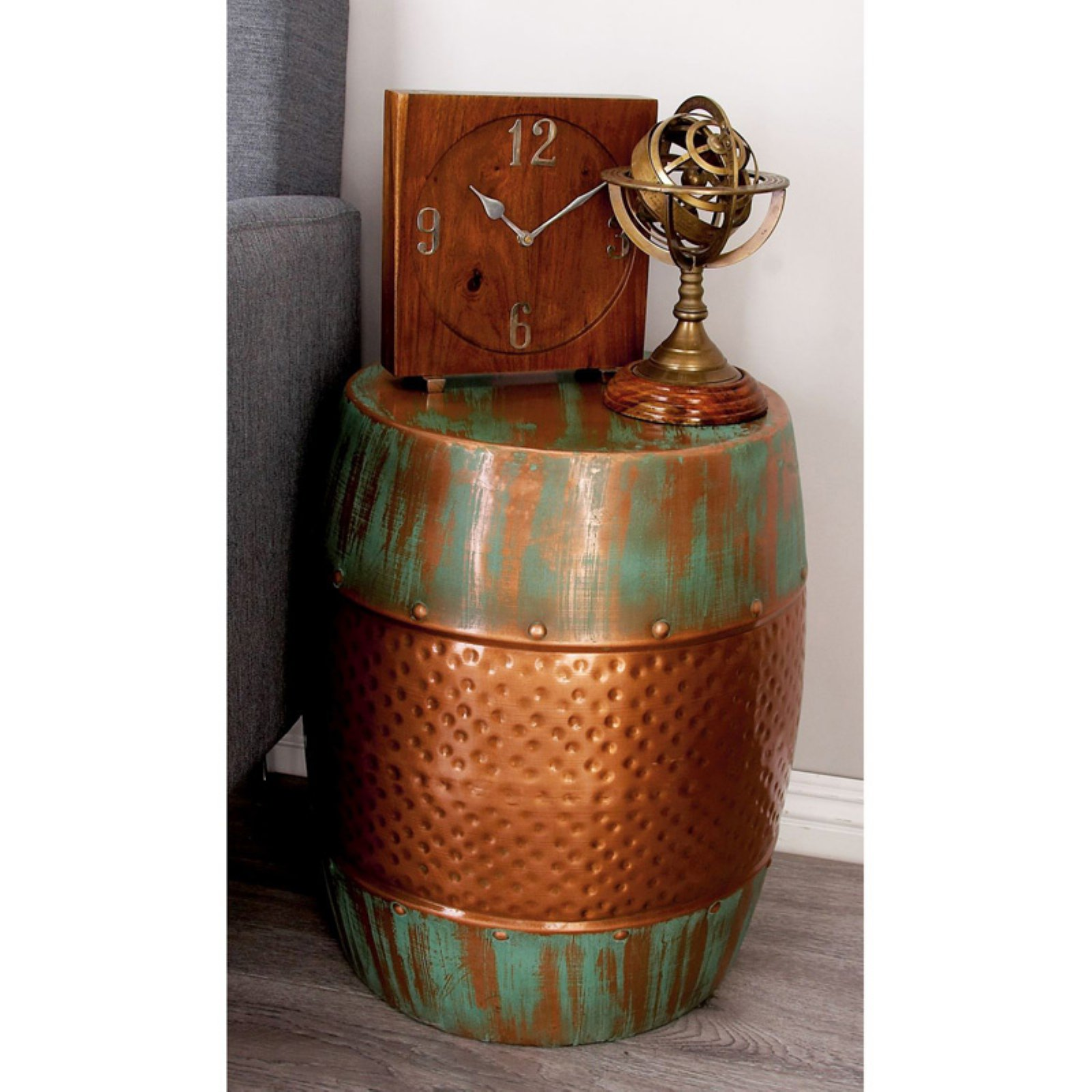 Captivating Distressed Copper Garden Stool