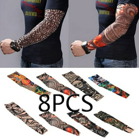 8pcs Set Arts Fake Temporary Tattoo Arm Sunscreen Sleeves - Designs Tiger, Crown Heart, Skull, Tribal and - Skull Rose Tattoo