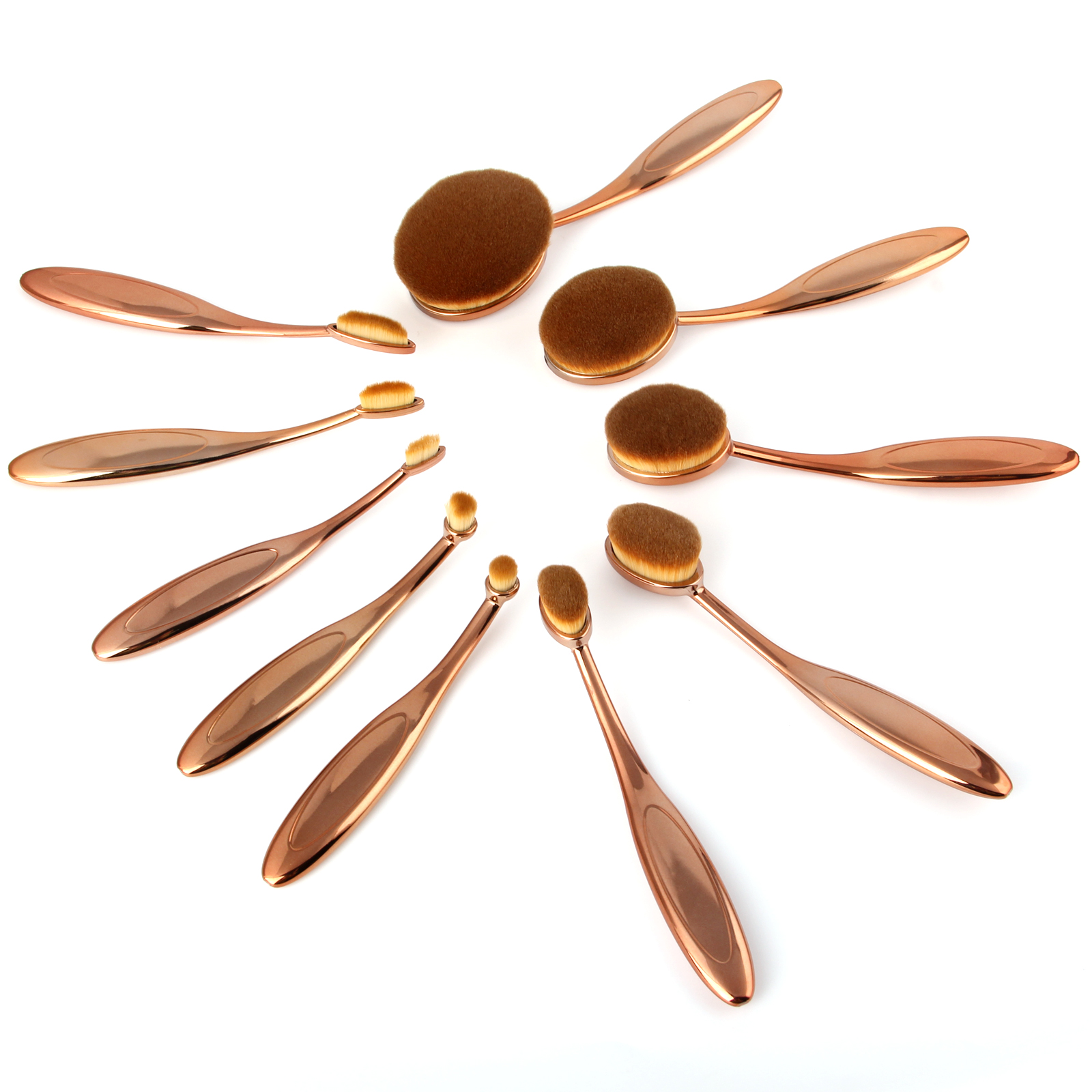 10pcs Rose Gold Toothbrush Shape Oval Makeup Brush Set Face foundation cream Powder Make Up