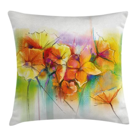 Watercolor Flower Home Decor Throw Pillow Cushion Cover, Vibrant Autumn Bouquet withTypes of Blooms Daffodil Fragrant Image, Decorative Square Accent Pillow Case, 24 X 24 Inches, Multi, by Ambesonne