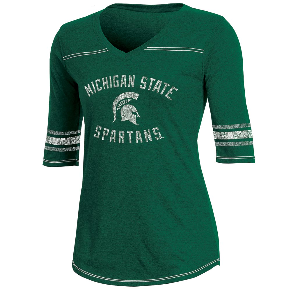 Women's Russell Green Michigan State Spartans Fan Half-Sleeve V-Neck T-Shirt