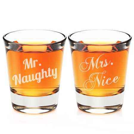 Mr. Naughty and Mrs. Nice Engraved Fluted Shot Glass