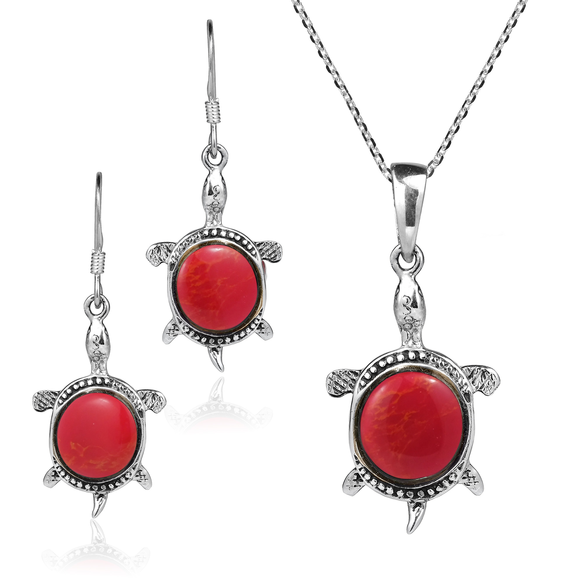 Happy Turtles Synthetic Coral .925 Stering Silver Necklace Earrings Set by