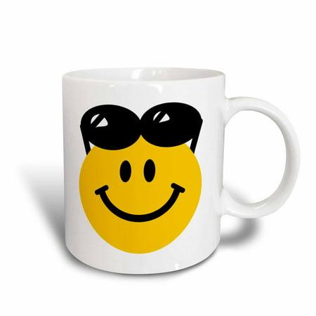 3dRose Smiley face with sunglasses on top of head - summer happy cartoon - summery sunny cute cool - Ceramic Mug, 11-ounce