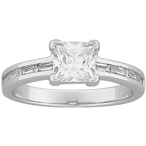 2.75 Carat T.G.W. Princess-Cut and Baguette CZ Engagement Ring in Sterling Silver