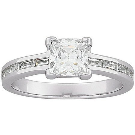 - 2.75 Carat T.G.W. Princess-Cut and Baguette CZ Engagement Ring in Sterling Silver