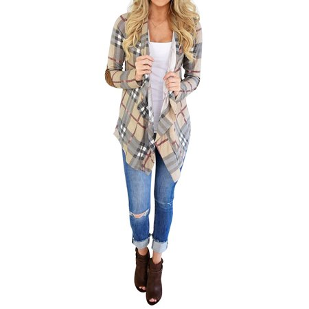 Cheetah Print Cardigan - ReliMart Women Plaid Print Elbow Patch Design Long Sleeve Cardigan