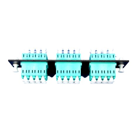 Profile Aqua Rack - Leviton 5F100-24A SC Fiber Optic Plate Rack Patch Panel Mount with Aqua Adapters