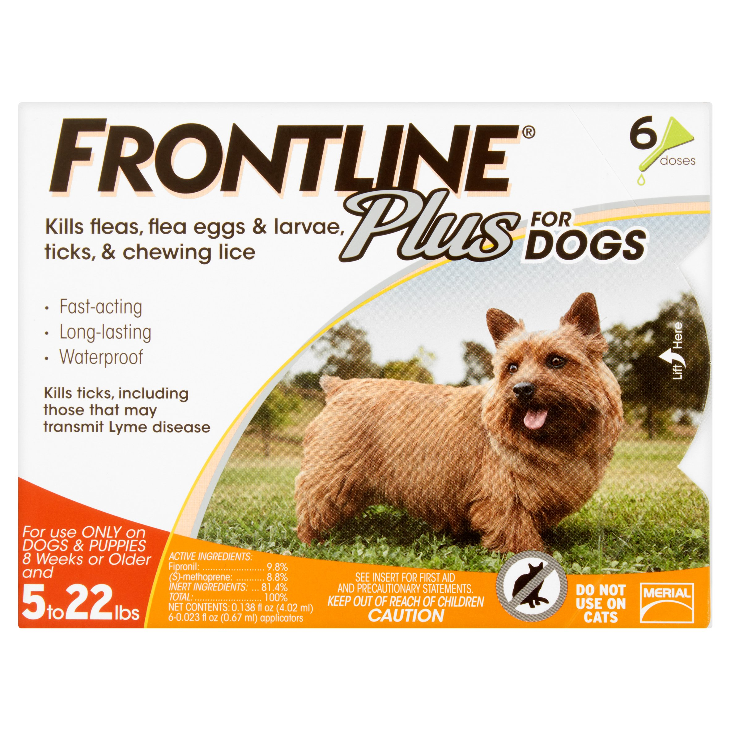 Frontline Plus Flea and Tick Monthly Treatment for Small Dogs, 6 Monthly Doses