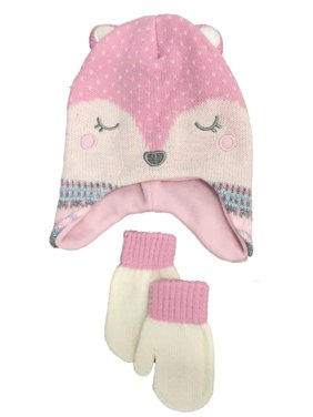 ed11f276 Product Image Toddler Girls Pink Fleece Leopard Print Kitty Cat Trapper Hat  & Mittens Set