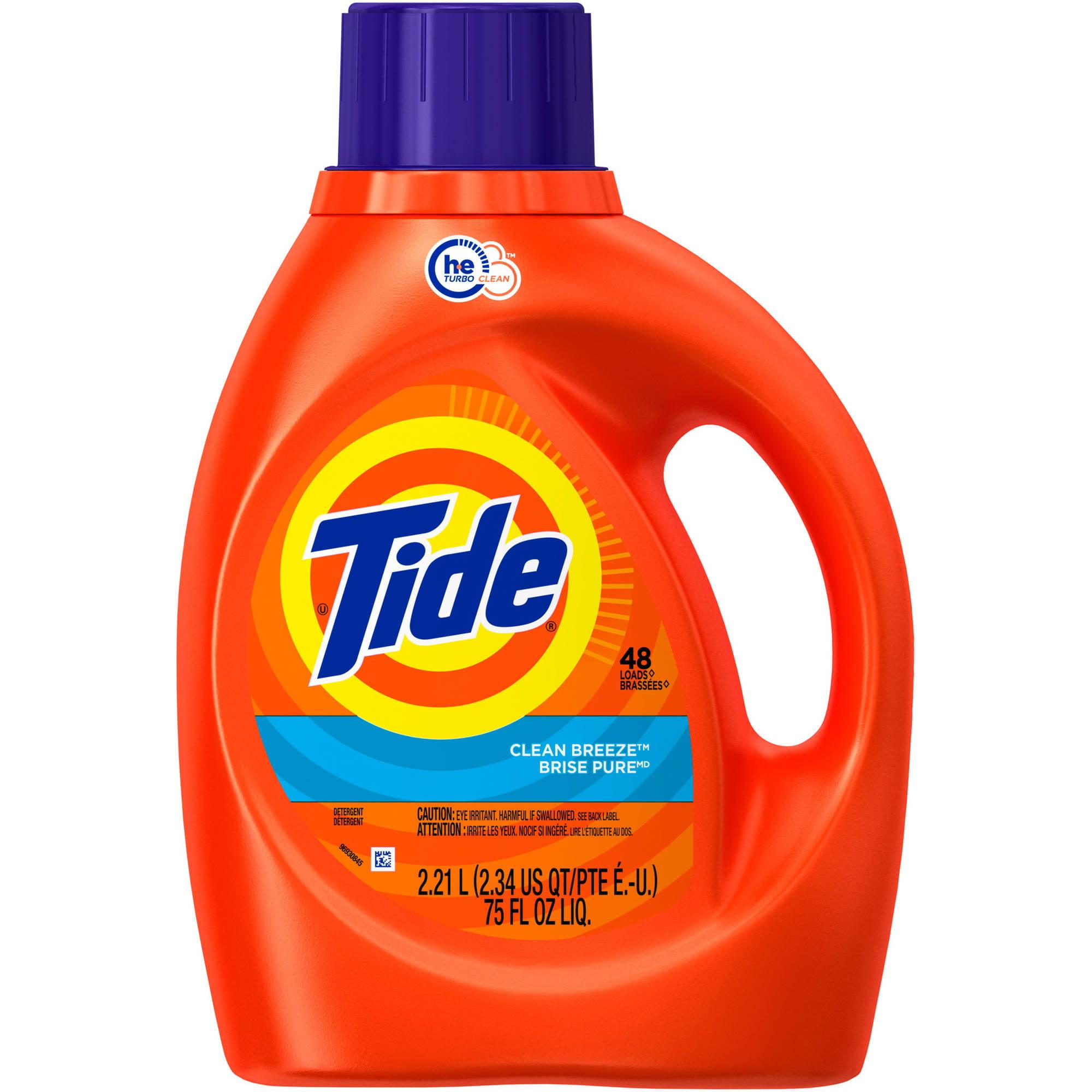 Tide Clean Breeze Scent Liquid Laundry Detergent, (Choose Your Size)