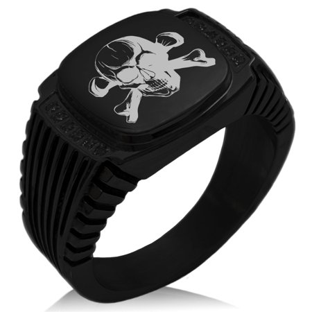 Stainless Steel Iconic Pirate Crossbones Skull CZ Ribbed Needle Stripe Pattern Biker Style Polished Ring