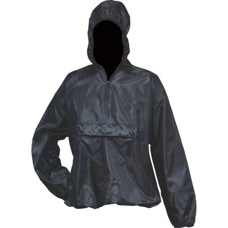 Image of All-Weather Pull-Over Black Rain Jacket