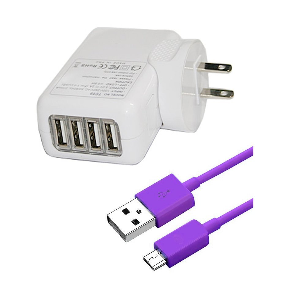 4-port USB 2.1A Travel Wall Charger Adapter with Micro USB Cable (10ft) - White/Purple