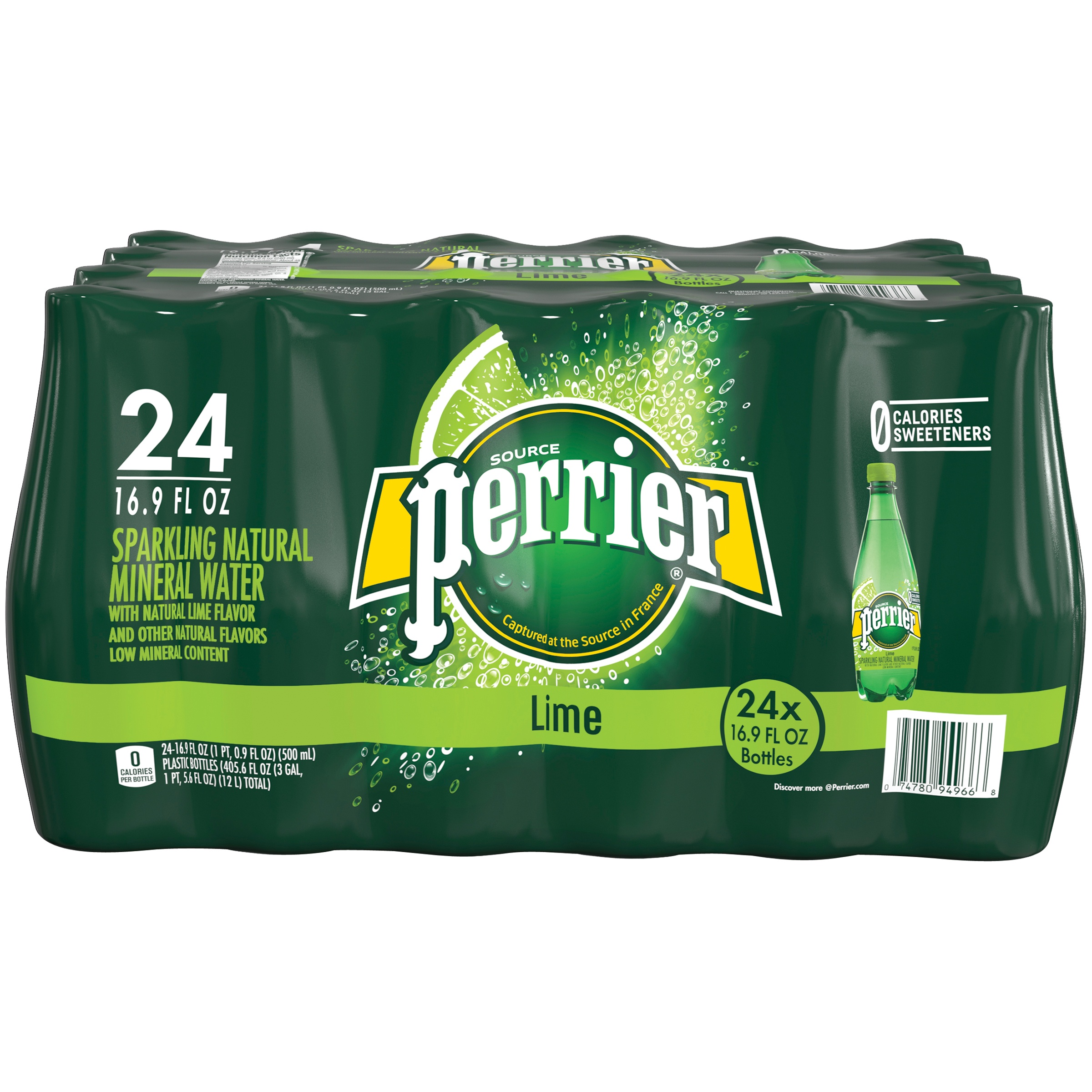 PERRIER Sparkling Natural Mineral Water, Lime 16.9-ounce plastic bottles