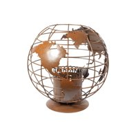 Echo Valley Globe Tabletop Fireplace - Outdoor Steel Planet Earth Gel Fuel Fire Bowl Sculpture Home Decor, Includes Snuffer