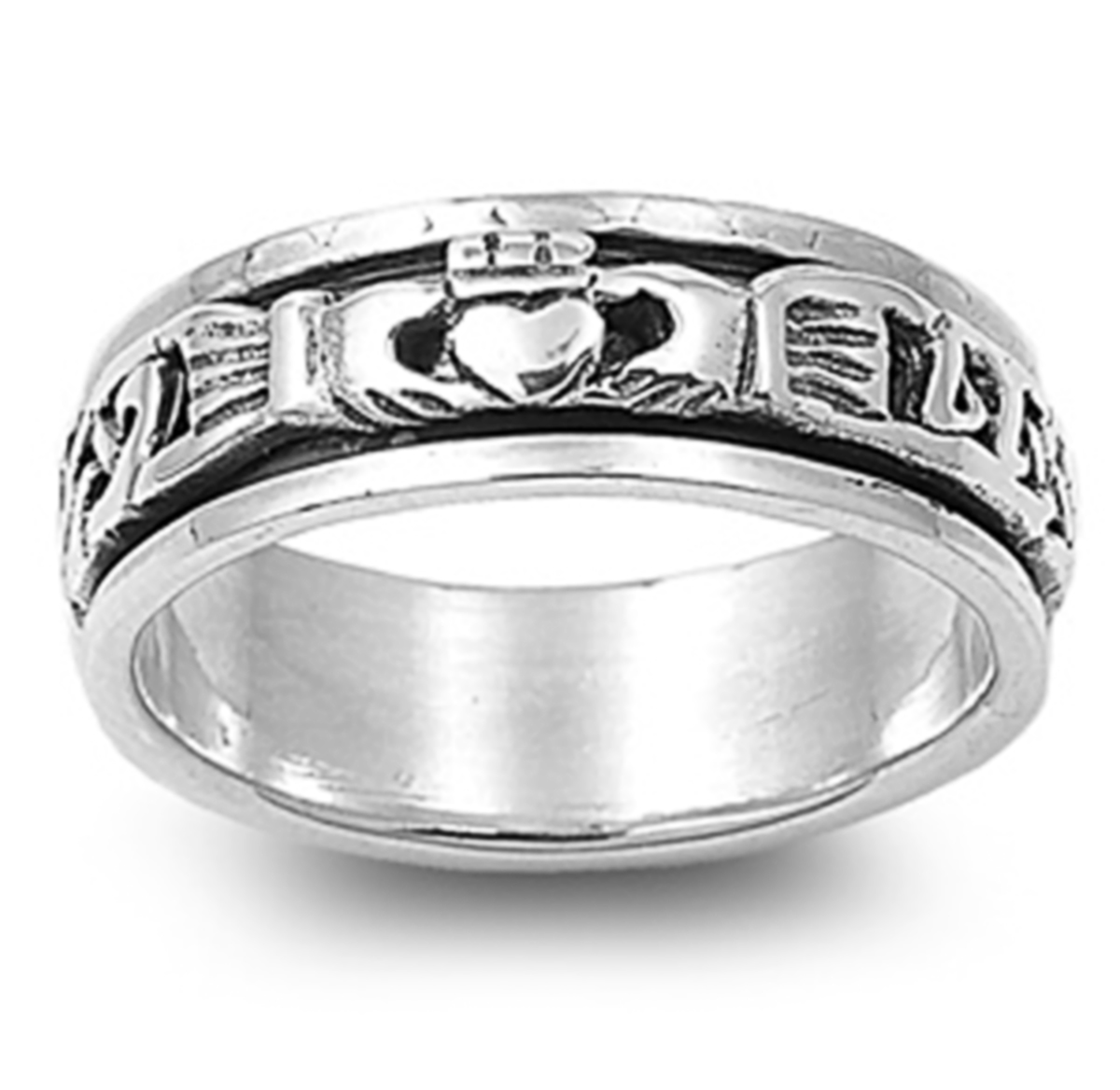 Men Women 925 Sterling Silver 6mm Oxidize Finish Celtic Claddagh Spinner Ring