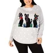 Karen Scott Womens Plus Cat Embroidered Christmas Sweater