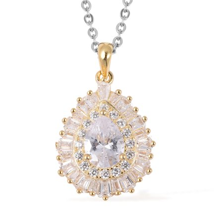 Mix Metal 14K Yellow Gold Plated White Cubic Zirconia CZ Pendant Necklace 20