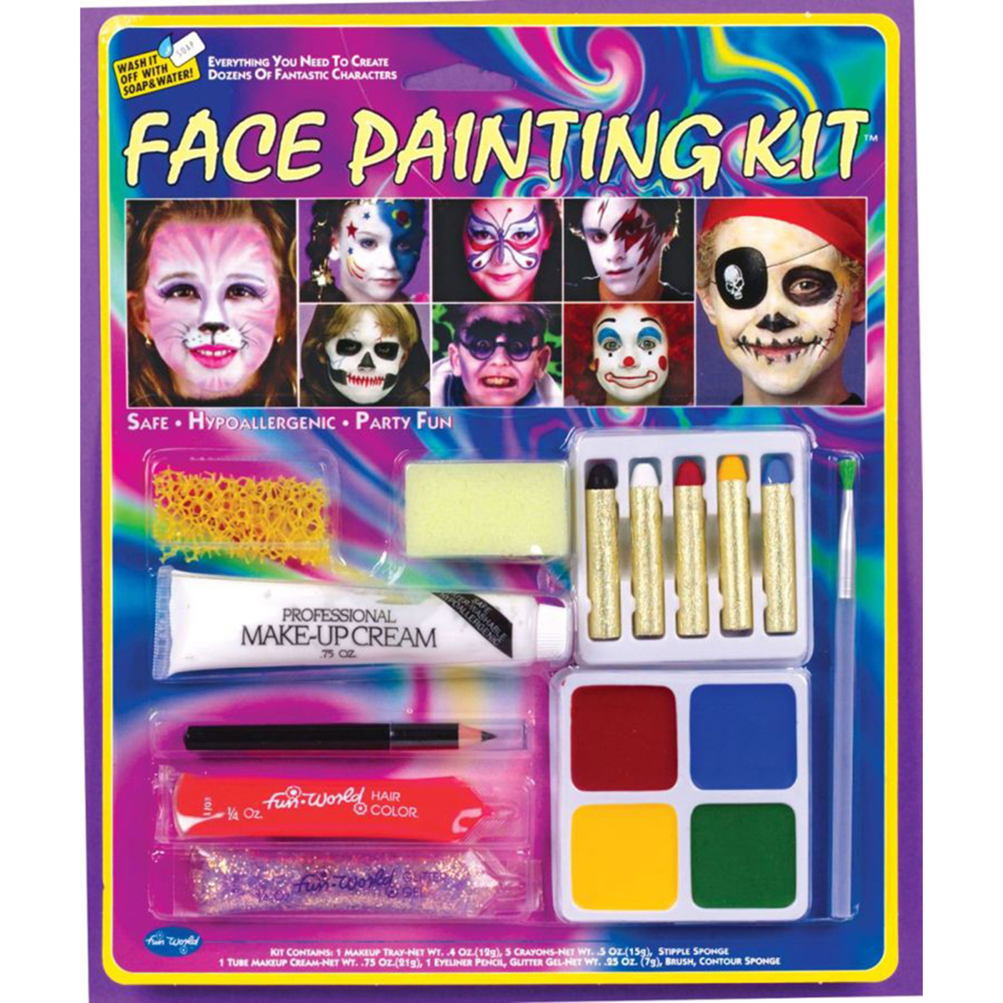 Morris Costumes Full Color Blister Card Party Face Painting Kit, Style FW9621