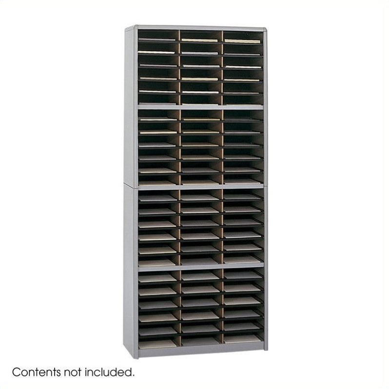 Scranton & Co 72 Compartment Metal Flat Files Vertical Organizer in Gray