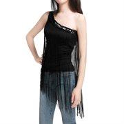 Women's Single Shoulder Paillette Fringed Tops Black (Size L / 12)