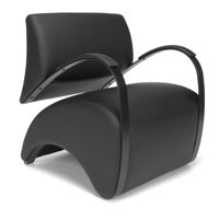 OFM Model 841 Recoil Lounge Chair with Fabric Back and Polyurethane Seat, Black with Nickel
