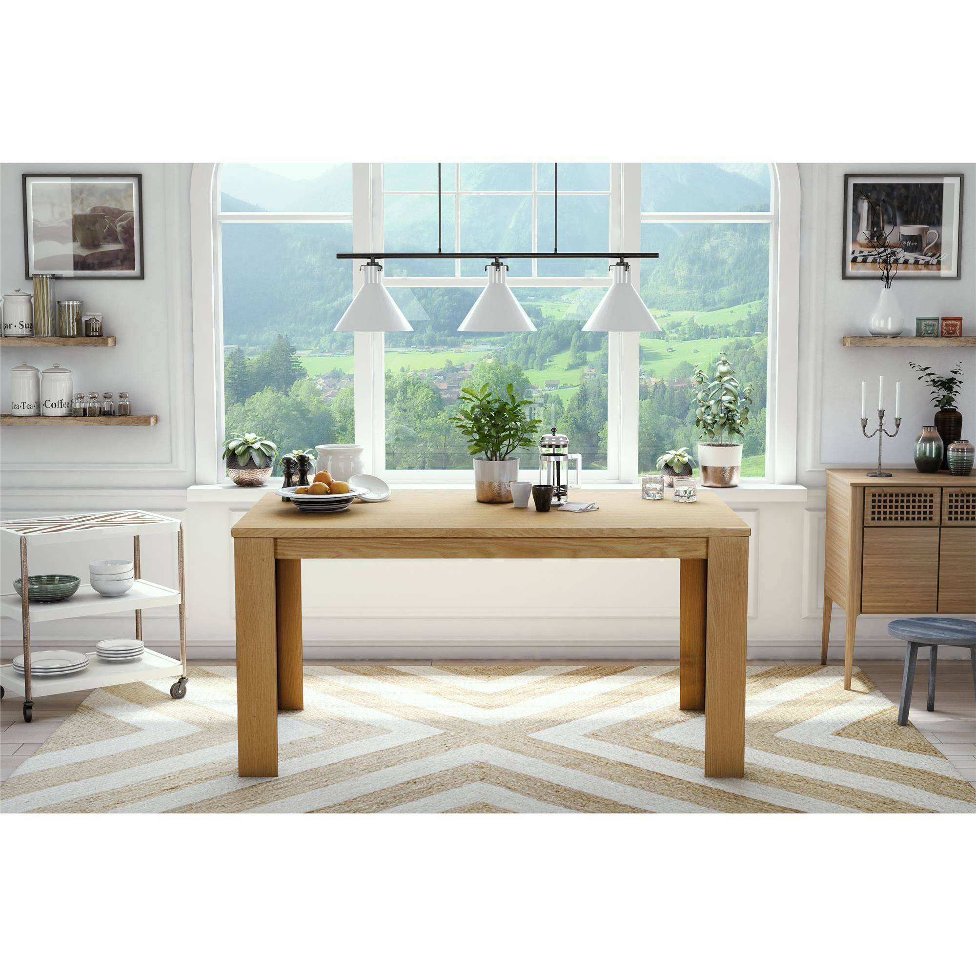 Dorel Living Weston Block Leg Dining Table, Wheat