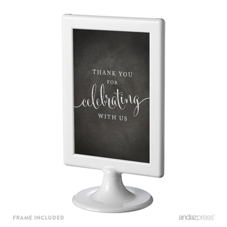 Thank You For Celebrating With Us Framed Vintage Chalkboard Wedding Party Signs