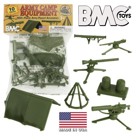BMC Classic PLASTIC ARMY MEN Playset Accessories - 10pc Military Camp - US Made Classic Army Mp5