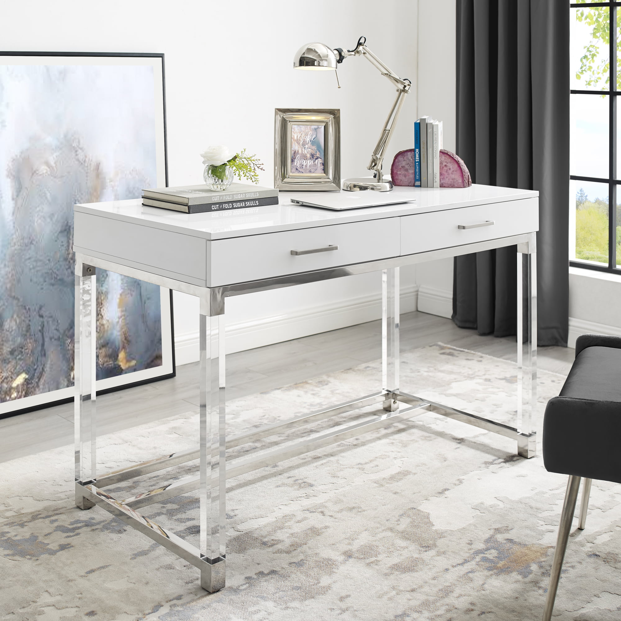 Alena White Writing Desk - 46 Drawers  High Gloss  Acrylic Legs  Chrome  Stainless Steel Base  Modern Design