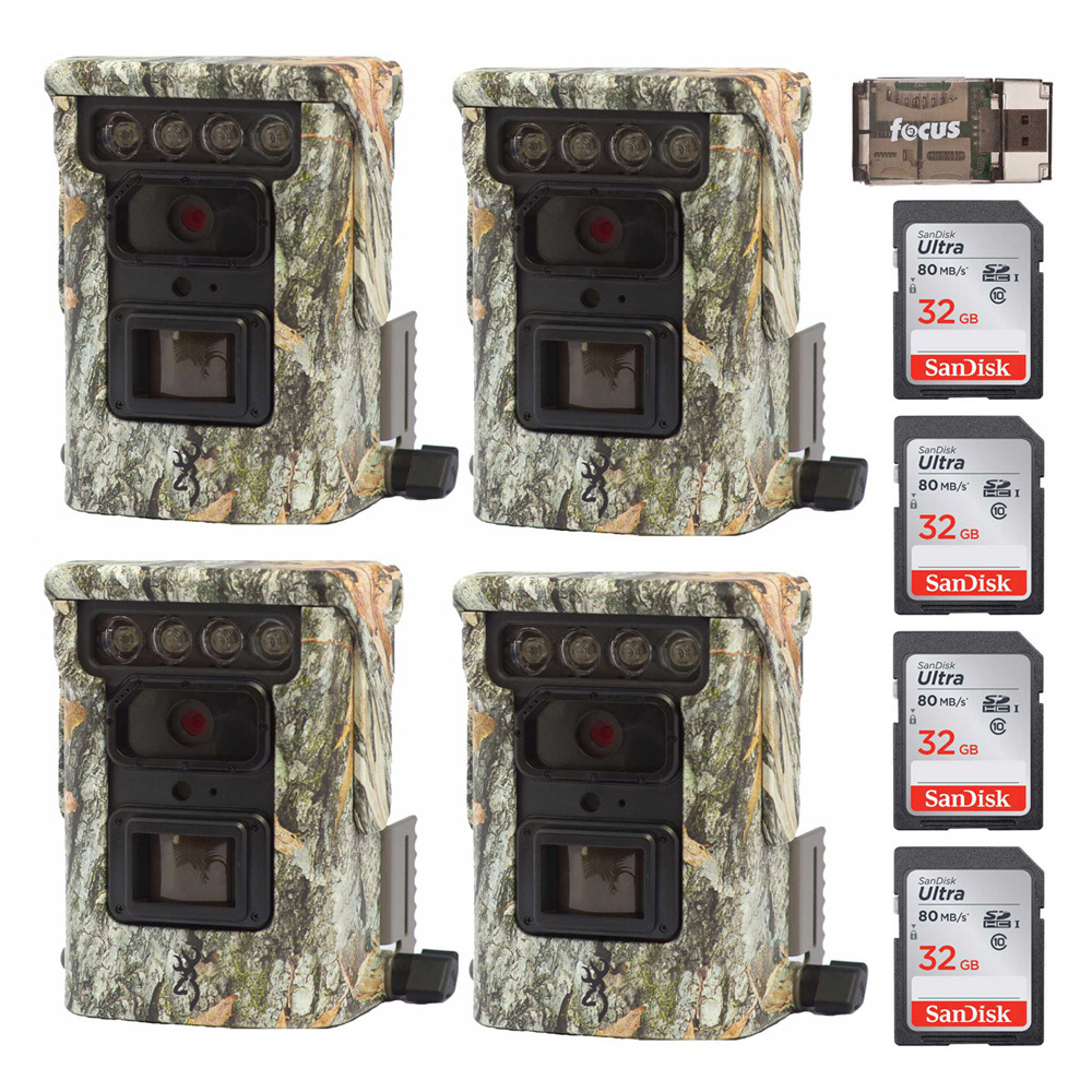 Browning Defender 850 Trail Camera (4-Pack, Camo) + SanDisk Ultra 32GB Memory Card (4-Pack) + Card Reader by Browning Trail Cameras