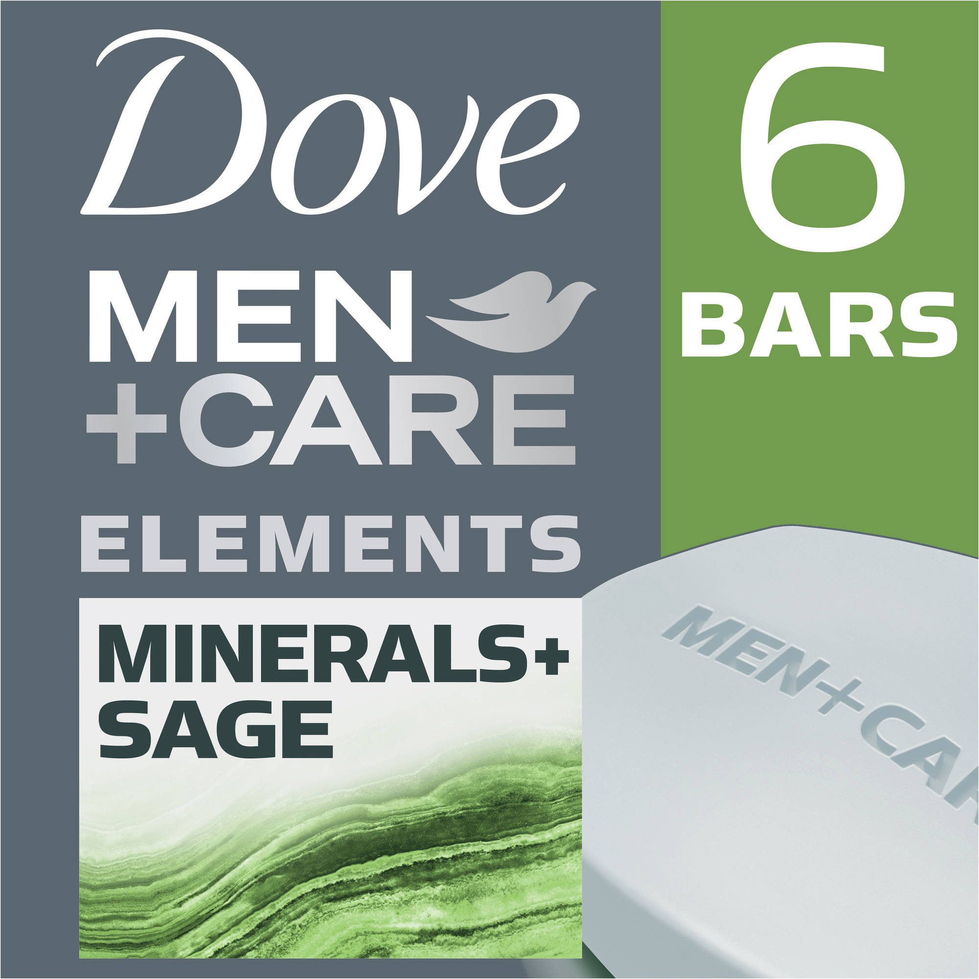 Dove Men+Care Body and Face Bar Minerals + Sage 4 oz, 6 Bar