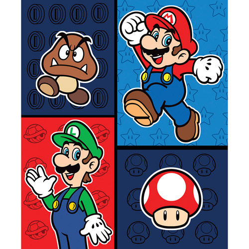 "Mario Time to Team Up 46"" x 60"" Throw"
