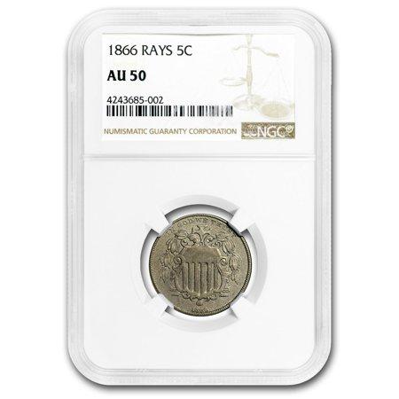 1866 Shield Nickel w/Rays AU (1866 Shield)