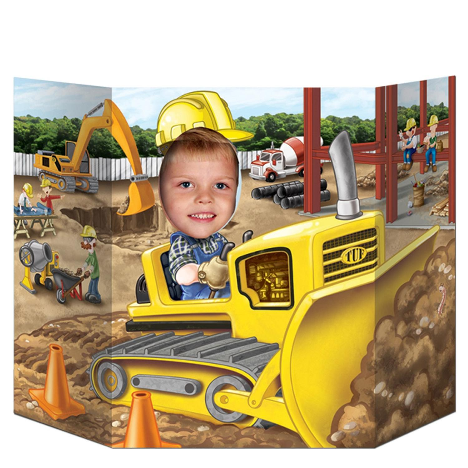 "Pack of 6 Construction Themed Yellow Bulldozer Truck Photo Prop Decorations 37"" x 25"""