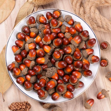 200 Pieces Fake Acorns for Crafts Artificial Fruit Props Acorns Decoration Crafting DIY Home Party Wedding Decor Thanksgiving Christmas Festival, Brown](Thanksgiving Home Decorations)