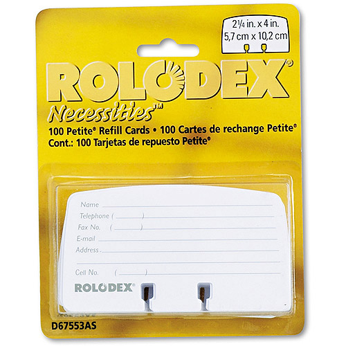 Rolodex Petite Refill Cards, 100 Cards/Set