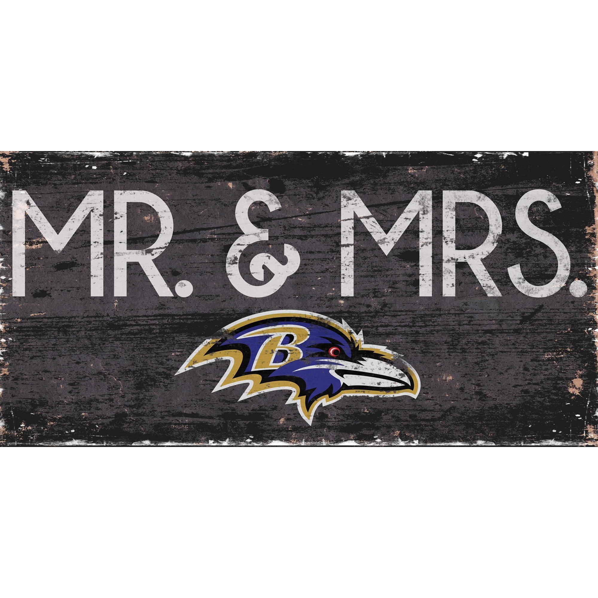 Baltimore Ravens 6'' x 12'' Mr. & Mrs. Sign - No Size
