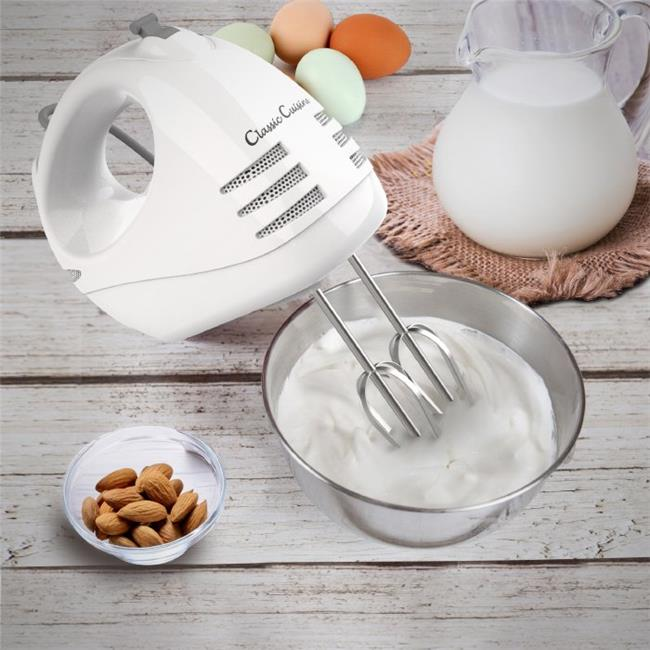 Classic Cuisine M030232 6 Speed Electric Hand Mixer with Stainless Steel Beater Blades & Dough Hook, White
