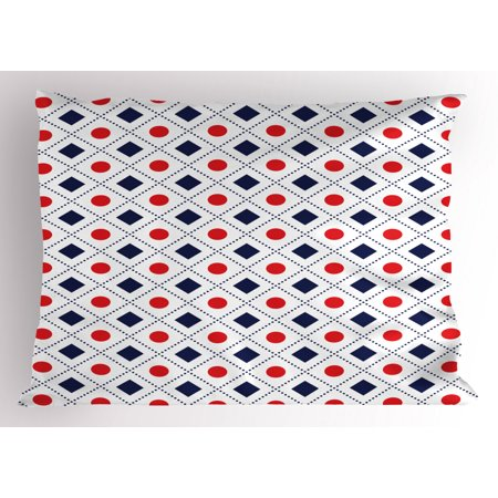 Americana Pillow Sham Big Red Dots Squares And Dashed