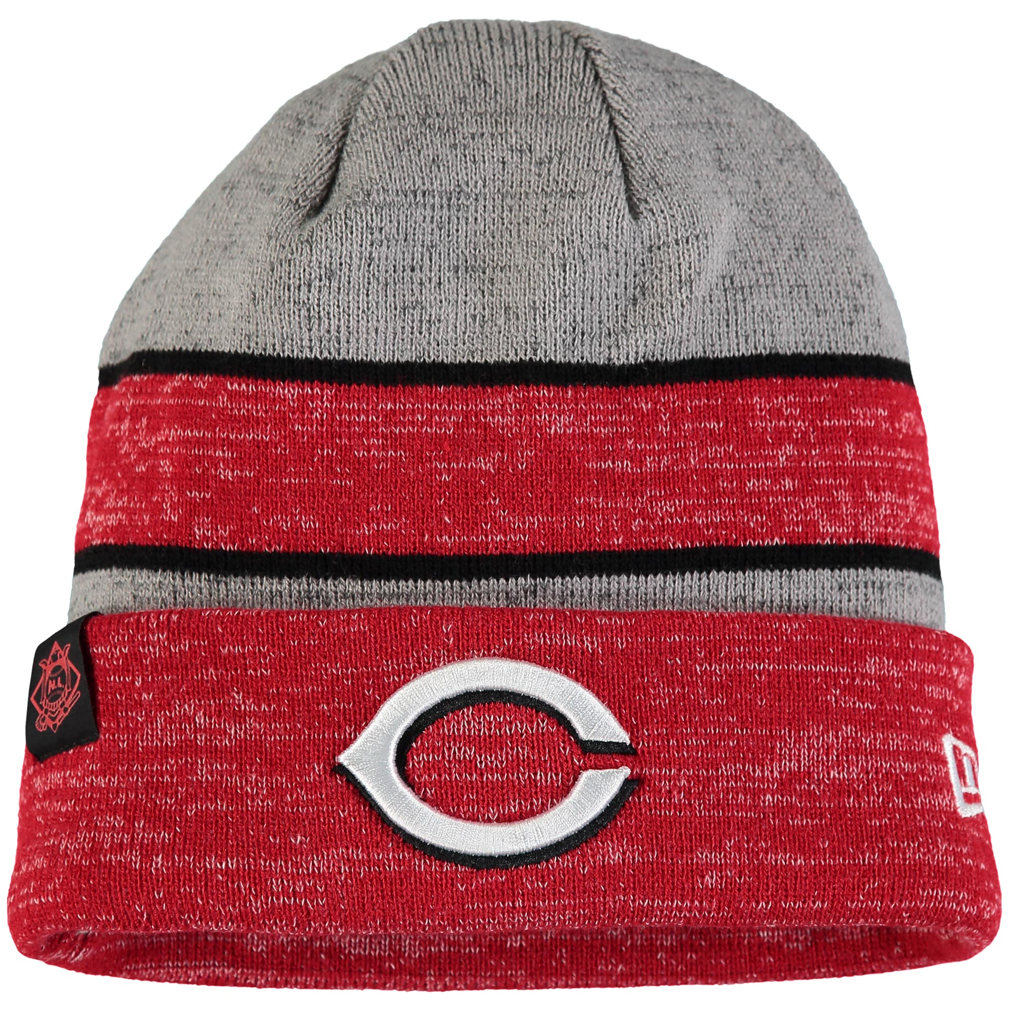 Cincinnati Reds New Era On Field Sport Cuffed Knit Hat - Heathered Gray/Heathered Red - OSFA
