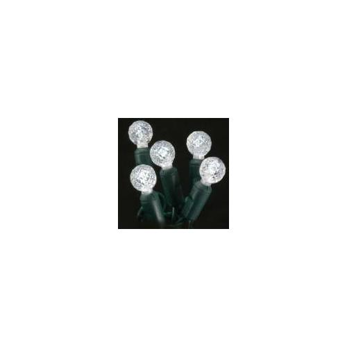 Christmas at Winterland S-35G12PW-4G 12.5 Foot String of Pure White G12 Globe LED Lights with 4 Inch Spacing and Gree, Pure White