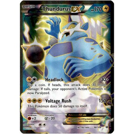 Pokemon X & Y Roaring Skies Single Card Full Art Ultra Rare Thundurus-EX (Pokemon X And Y Starter Pokemon Evolution)