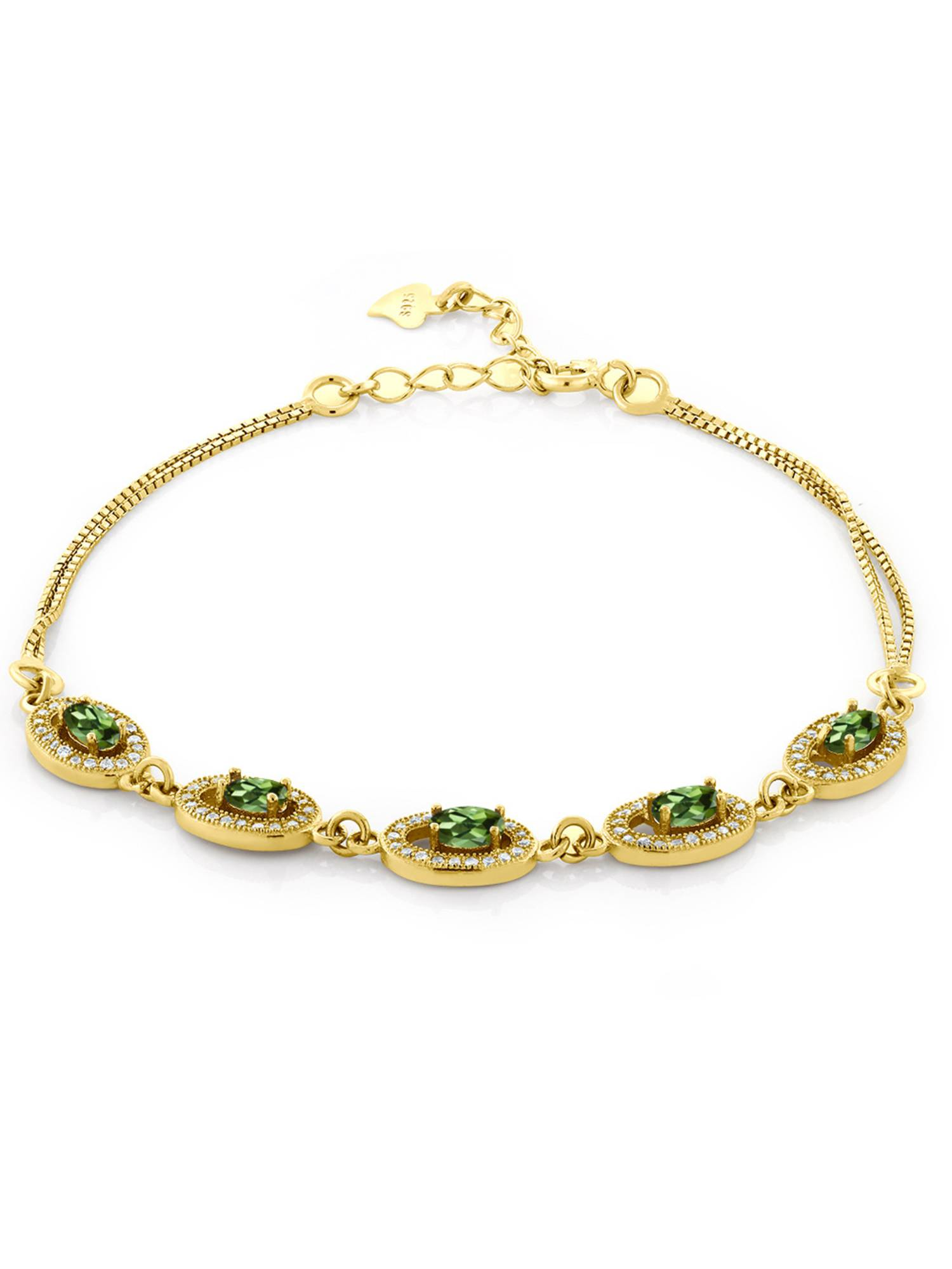 0.48 Ct Oval Green Tourmaline 18K Yellow Gold Plated Silver Bracelet by