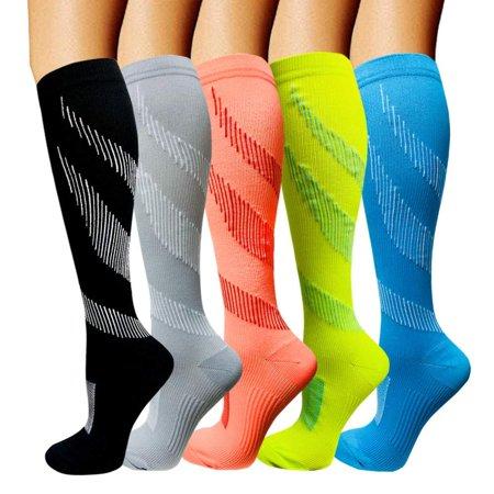 Compression Socks 3/5 Pairs 15-20 mmHg is Best Athletic & Medical for Men & Women, Running, Flight, Travel, Nurses,Edema C - Color 32 Large / (Best Running Bra For Large Chest)