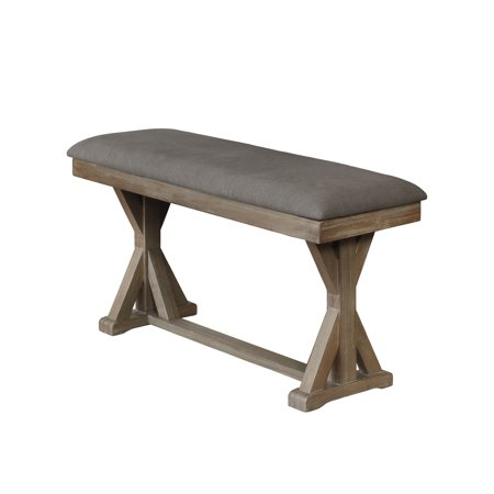 Best Quality Furniture Upholstered C.H. Bench in Linen Fabric and Two Colors to Choose (Gray or Beige) -