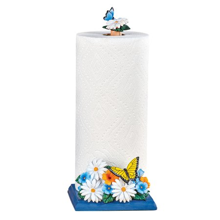 Daisy and Butterfly Paper Towel Holder with Blue Base - Decorative Kitchen Accessories Butterfly Paper Towel Holder